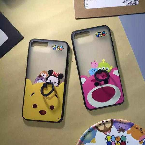 【紅荳屋】維尼草莓熊浮雕指環支架  蘋果iphone7/7plus/i7軟殼手機殼