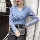限時特價 蕾絲襯衫女早秋新款韓版設計感V領顯瘦內搭長袖修身打底上衣