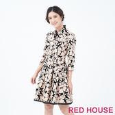 RED HOUSE-蕾赫斯-花朵植絨洋裝(卡其色)