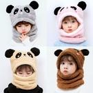 兒童帽子兒童帽子秋冬男童女童護耳帽圍脖一體可愛超萌寶寶帽加絨耳朵棉帽 新品
