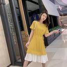 短袖洋裝 閨蜜裝連身裙女 夏季法國小眾收腰顯瘦中長款學生過膝短袖法式復古裙子