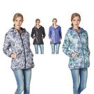 【SAMLIX 山力士】女 兩面穿3D炫彩數位印花羽絨外套(#37516黑白色.紫綠色)