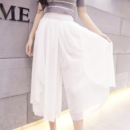 SISI【P6028】清爽簡約歐風寬鬆休閒顯瘦鬆緊腰絲光九分寬管褲