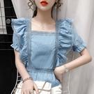 方領上衣 復古法式方領泡泡袖藍色襯衫女夏荷葉邊蕾絲洋氣后背繫帶鎖骨上衣-Ballet朵朵