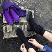 中筒靴馬丁靴女ins中短筒毛線襪靴韓版學生平底瘦瘦靴百搭41-43大碼靴子      艾維朵