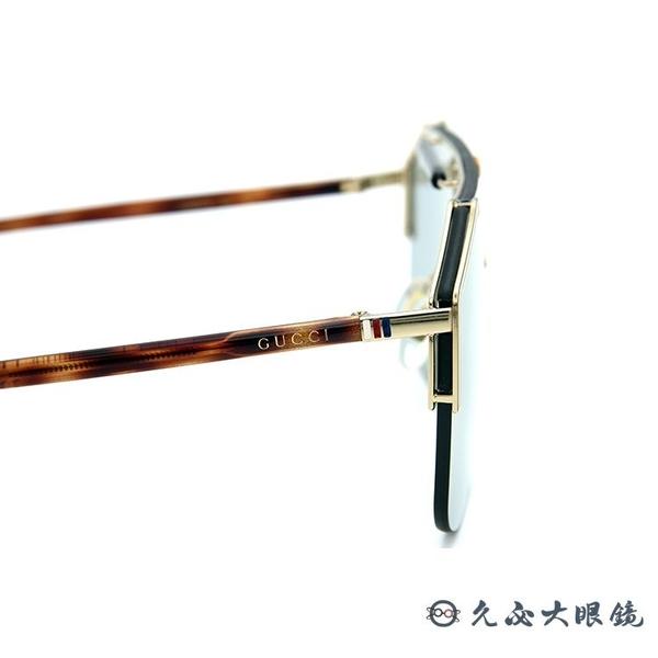 GUCCI 墨鏡 時尚大框 水銀 太陽眼鏡 GG0291S 005 金-玳瑁 久必大眼鏡