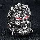 《 QBOX 》FASHION 飾品【RBR8-457】精緻宗教大黑天財神開口鑄造鈦鋼戒指/戒環