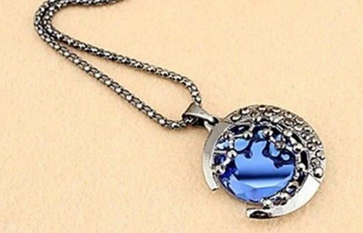 月亮水晶項鍊 滿鑽寶石毛衣鏈 韓版長款項飾【B4028】