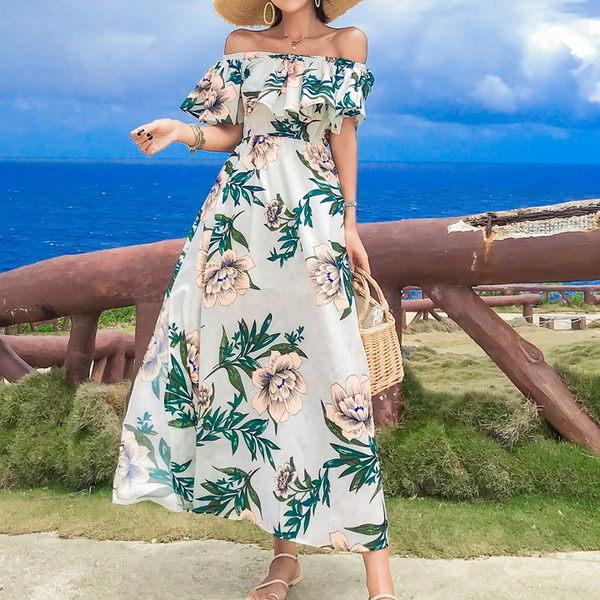 梨卡★現貨 - 甜美優雅度假一字領露肩印花花朵沙灘連身長裙洋裝連身裙長洋裝沙灘裙C6418-1