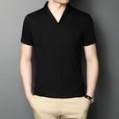 夏季新款V領短袖T恤男潮流韓版個性男裝青年帥氣冰絲薄款半袖上衣【快速出貨】