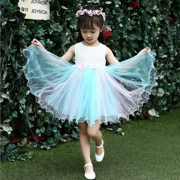 衣童趣 ♥女童無袖 甜美蕾絲花 紡紗洋裝 簡約氣質款 花童連身裙 外出百搭款