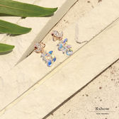 Rshow 海島天堂 慵懶蝴蝶 透明感絢爛水晶珠 垂墜耳環 REA01073S