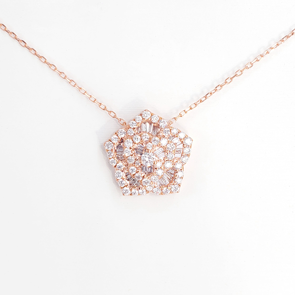 【光彩珠寶】鑽石玫瑰項鍊