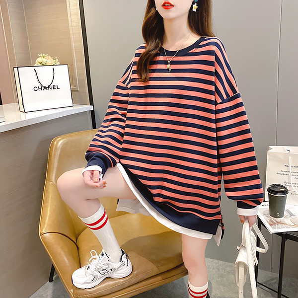 EASON SHOP(GW7652)實拍假兩件撞色條紋側開衩長版OVERSIZE落肩寬鬆長袖素色棉T恤裙連身裙洋裝大碼