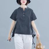 民族風短款女裝 夏裝新款棉麻t恤2020新款麻料寬鬆亞麻短袖上衣女 JX853『優童屋』