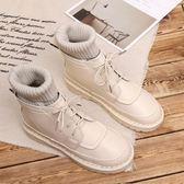 店長推薦▶正韓平底軟底百搭毛線口短靴女文藝森系靴子手工舒適