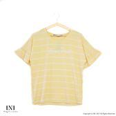 【INI】隨性迷人、波浪花樣棉質條紋上衣.黃色