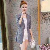 冬季新款韓版時尚潮修身百搭中長款棉麻條紋薄小西裝外套女     芊惠衣屋     芊惠衣屋