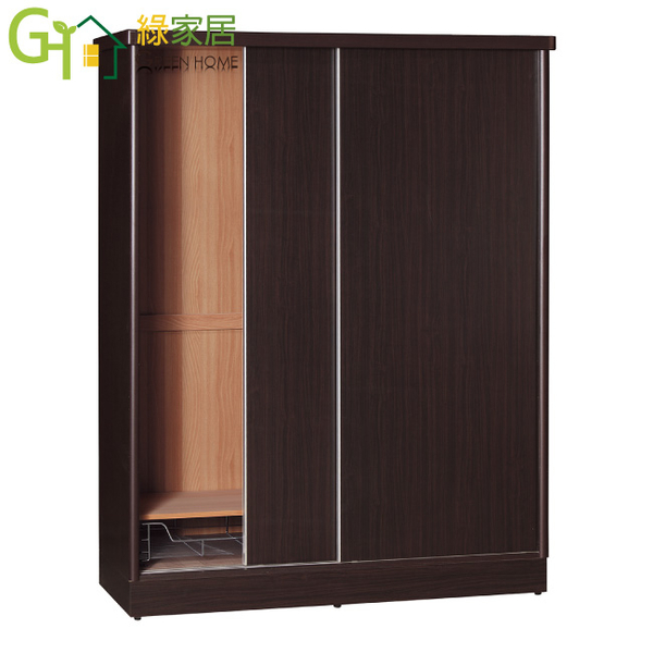 【綠家居】羅比 時尚4尺推門衣櫃/收納櫃(五色可選+吊衣桿+收納鐵籃)