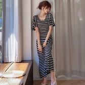 依二衣 洋裝 夏裝新款韓版氣質修身長裙休閒針織條紋大擺裙連身裙