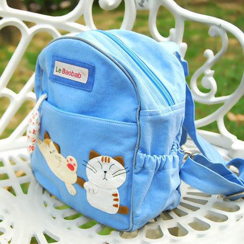 書包 後背包 手工書包 粉藍◆小朋友人生第一個小包包◆越南手染布半手工製作《Le Baobab》