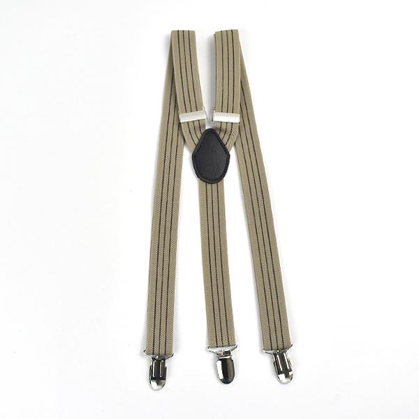 吊帶 日系復古卡其線條窄版NKD22