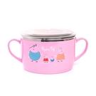 Peppa Pig 粉紅豬小妹 佩佩豬 雙耳不鏽鋼泡麵碗 650ml 附透明蓋 家人 粉_RD00455