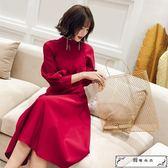 晚禮服女2018新款宴會秋裝紅色小禮服顯瘦高貴生日洋裝派對連衣裙
