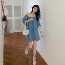 長袖牛仔洋裝 秋冬季牛仔裙方領娃娃裙長袖藍色洋裝正韓法式少女寬鬆裙女-年終穿搭new Year
