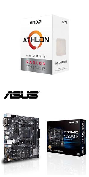 (AMD 3000G組合)AMD Athlon-3000G+華碩PRIME A520M-E/CSM