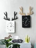 北歐裝飾創意鹿角鐘錶客廳墻面壁掛臥室靜音時鐘木質方形掛錶 交換禮物