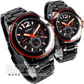 BIBA 碧寶錶 永恆光影三眼多功能 IP電鍍黑藍寶石水晶紅色贈項鍊 情人對錶 B15BS010M+B35BS010M 對錶