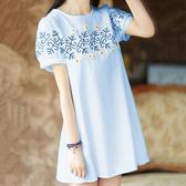 孕婦上衣夏裝短袖T恤時尚新款繡花小長款夏季文藝棉麻孕婦洋裝 滿天星