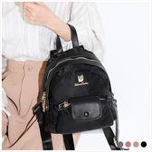 後背包-Rebecca bonbon孚日輕尼龍系列翻蓋小口袋後背狗頭包-共4色-A12121910-天藍小舖