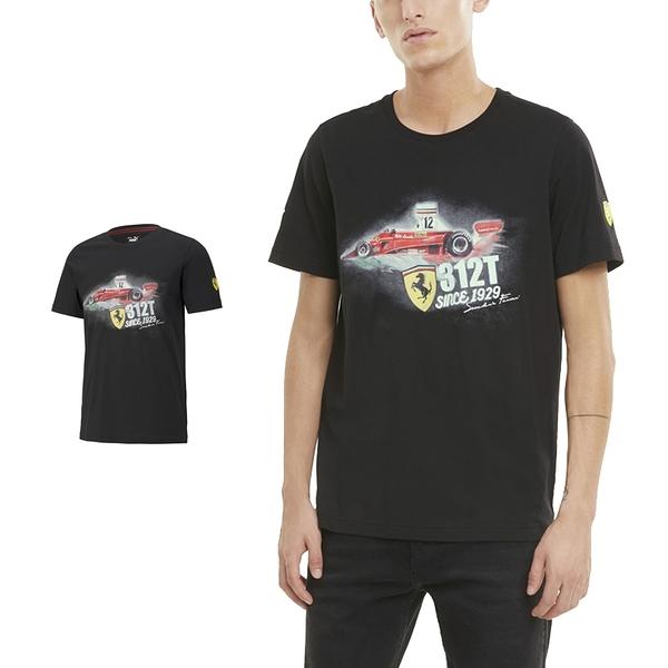 Puma Ferrari 男 黑 短袖 上衣 聯名款 棉T 法拉利 運動 休閒 F1賽車 圓領上衣 59983711