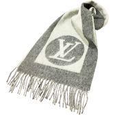 【Louis Vuitton 路易威登】M70484 經典CARDIFF系列Monogram LOGO印花雙色開士米羊毛混紡圍巾(灰色)