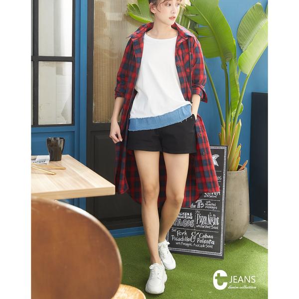 CANTWO JEANS純色造型牛仔短褲-黑