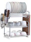 一件85折免運--廚房用品置物架三層家用碗架碗筷收納盒刀架晾放盤子碗碟架瀝水架XW