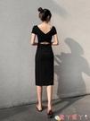 露背洋裝露背連身裙2021新款春收腰顯瘦輕奢性感名媛氣質開叉小黑裙赫本風 愛丫 免運