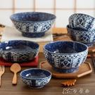陶瓷碗家用單個大碗湯碗面碗釉下彩石器魚紋餐具 卡卡西
