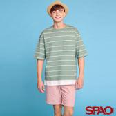 SPAO男款單口袋圓領條紋短袖T恤-共6色