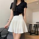 22百褶裙高腰短裙黑色白色半身裙女夏a字...