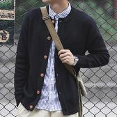 秋季男士日系復古毛衣外套男修身紐扣純色圓領針織衫開衫 糖果時尚