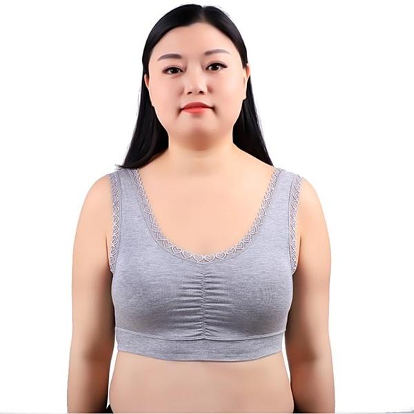 大碼莫代爾文胸無鋼圈媽媽內衣背心式寬鬆乳罩薄款透氣老年人胸罩