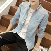 襯衫 牛仔襯衫男士春季長袖襯衣服韓版潮流帥氣男外套新款工裝寸衫 夢露