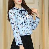 雪紡衫女長袖2018春裝新款韓版蕾絲小衫立領寬鬆上衣喇叭袖女襯衫『韓女王』