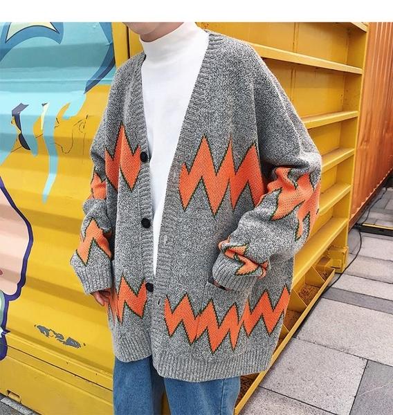 男裝慵懶風V領百搭寬鬆韓版秋冬毛衣男長袖加厚針織開衫外套潮流 依凡卡時尚