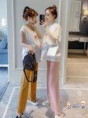 套裝 孕婦夏季套裝2019新款時尚寬鬆韓版刺繡短袖T恤雪紡托腹褲兩件套 1色