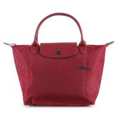 Longchamp 1621 LE PLIAGE 奔馬刺繡短提把小型尼龍摺疊水餃包(石榴紅)480206-C87