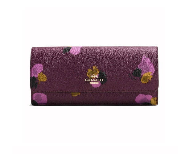COACH 53751  新款花卉印花塗層帆布女士錢包